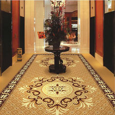 China Brown Flower PVC Carpet Flooring / Corridor Wilton Patterned Carpets supplier