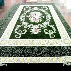 3d Green Hand Embossed 100 Wool Carpet Rug Fire Resistance Anti - Slip Feature