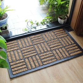 Natural Coir Entrance Matting / Coir Personalized Door Mats Grid Style