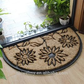 China Waterproof Coir Entrance Matting , Half Moon Rubber Door Mat Puzzle Style factory