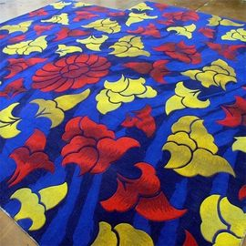 China 3D Embossed Handmade Woollen Carpet , Large Shag Area Rugs Dark Blue Color factory