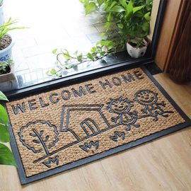 Home Coir Entrance Matting Embroidered Pattern Corrosion Resistance