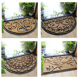 Half Moon Coir Doormat Natural Fiber Embroidered Pattern Thickness 12mm