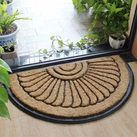 Thickness 25mm Coir Outdoor Mats Semi Circle Rubber Mold Puzzle Style